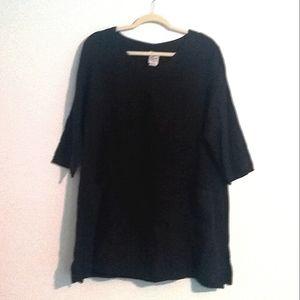 VTG Matchpoint Black Linen 3/4 Sleeve Shift Dress